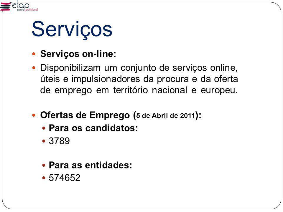 Serviços Serviços on-line: Disponibilizam um conjunto de serviços online, úteis e impulsionadores da procura e da oferta de emprego em território nacional e europeu.