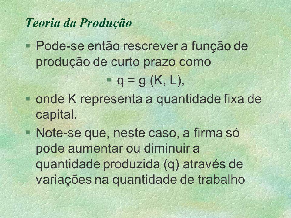 Teoria da Produção §Pode-se então rescrever a função de produção de curto prazo como §q = g (K, L), §onde K representa a quantidade fixa de capital. §