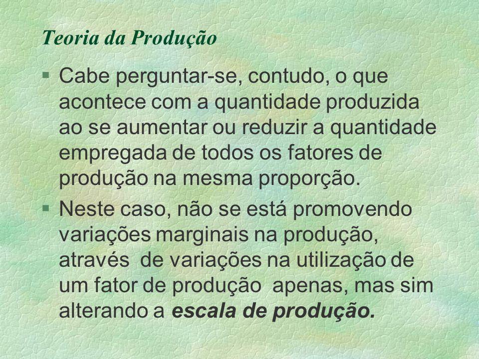Teoria da Produção §Cabe perguntar-se, contudo, o que acontece com a quantidade produzida ao se aumentar ou reduzir a quantidade empregada de todos os