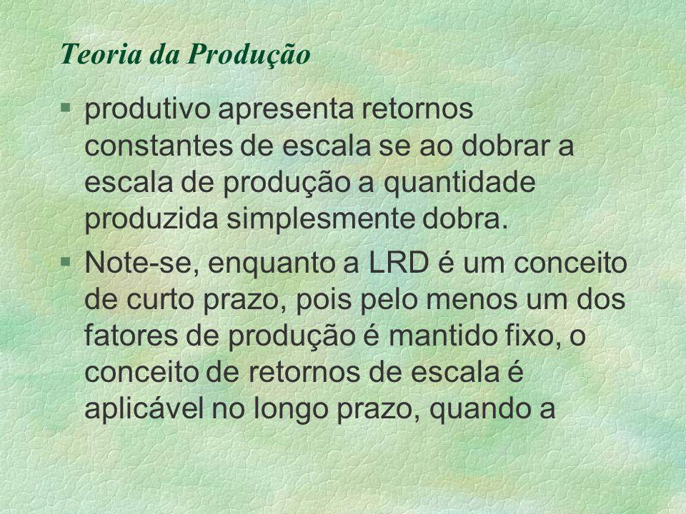 Teoria da Produção §produtivo apresenta retornos constantes de escala se ao dobrar a escala de produção a quantidade produzida simplesmente dobra. §No