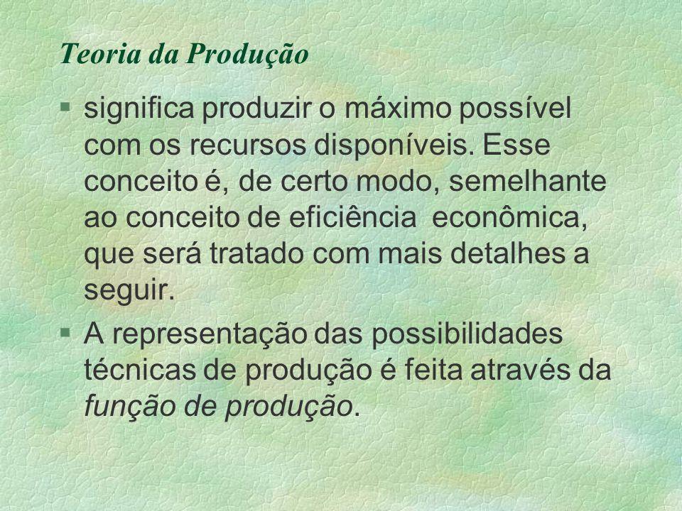 Teoria da Produção §significa produzir o máximo possível com os recursos disponíveis. Esse conceito é, de certo modo, semelhante ao conceito de eficiê