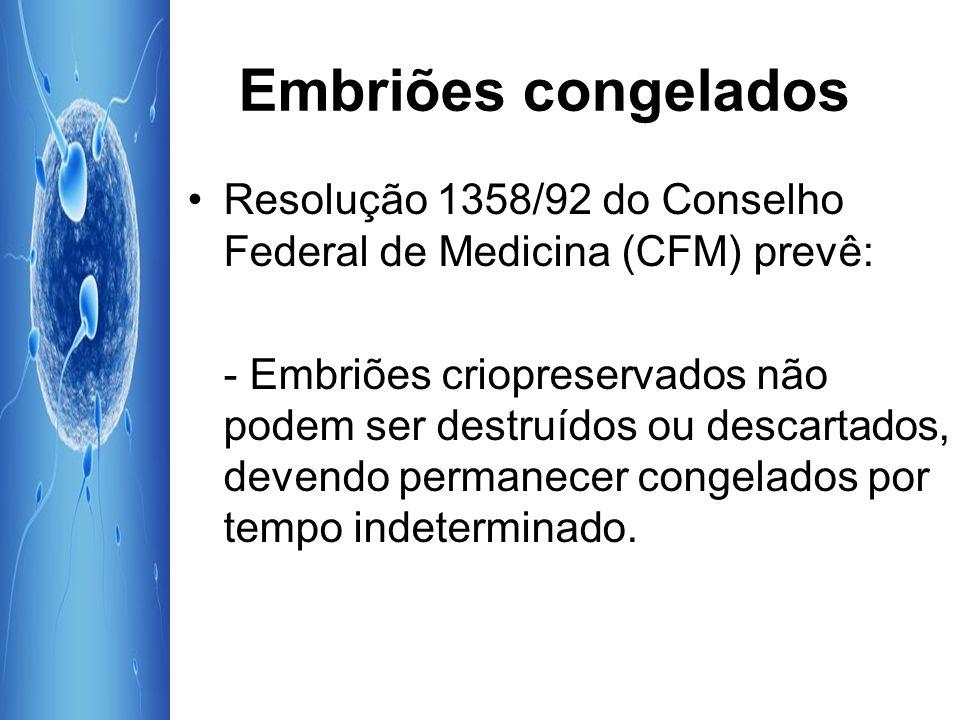 Embriões congelados Resolução 1358/92 do Conselho Federal de Medicina (CFM) prevê: - Embriões criopreservados não podem ser destruídos ou descartados,