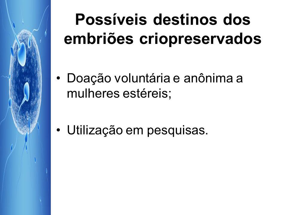 Possíveis destinos dos embriões criopreservados Doação voluntária e anônima a mulheres estéreis; Utilização em pesquisas.