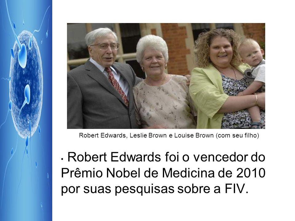 Robert Edwards, Leslie Brown e Louise Brown (com seu filho) Robert Edwards foi o vencedor do Prêmio Nobel de Medicina de 2010 por suas pesquisas sobre