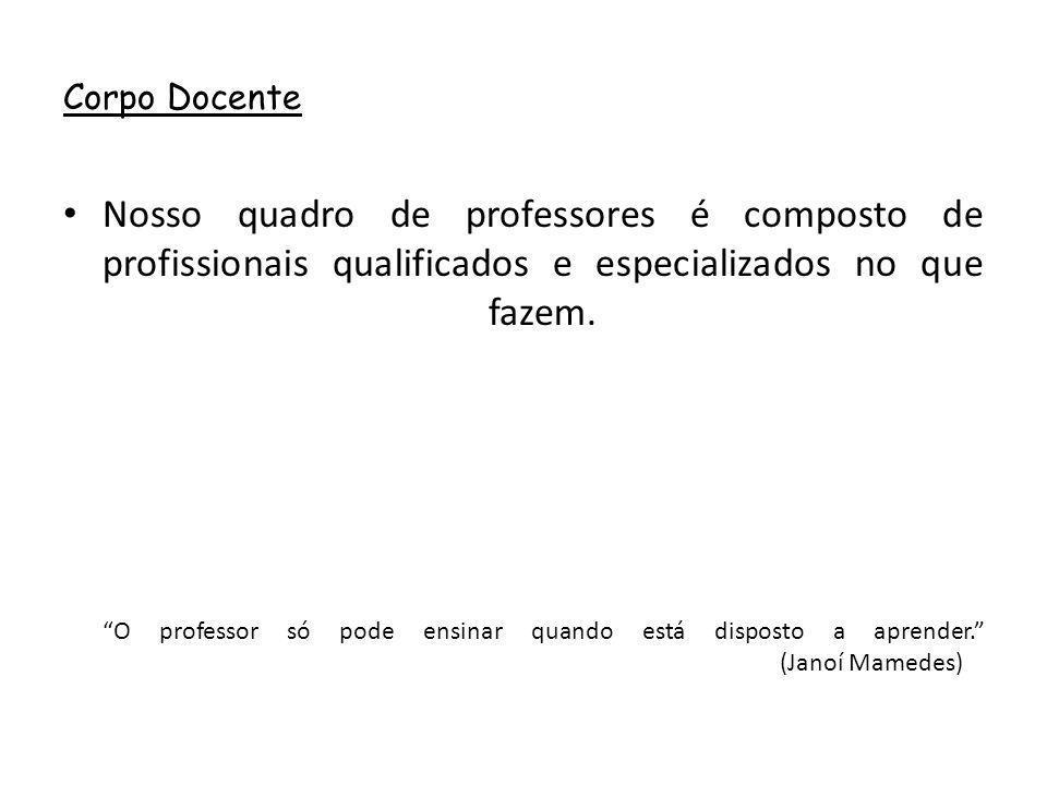 """Corpo Docente Nosso quadro de professores é composto de profissionais qualificados e especializados no que fazem. """"O professor só pode ensinar quando"""