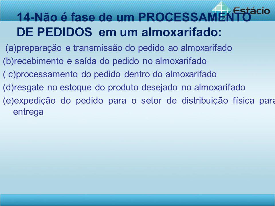14-Não é fase de um PROCESSAMENTO DE PEDIDOS em um almoxarifado: (a)preparação e transmissão do pedido ao almoxarifado (b)recebimento e saída do pedid
