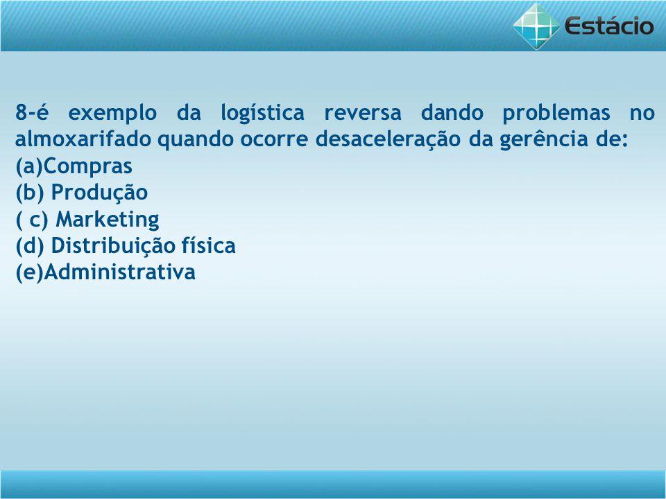 8-é exemplo da logística reversa dando problemas no almoxarifado quando ocorre desaceleração da gerência de: (a)Compras (b) Produção ( c) Marketing (d