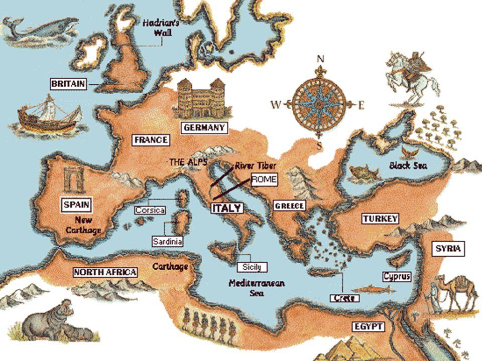 O que é que os romanos fizeram aos povos que viviam à volta do Mar Mediterrâneo.