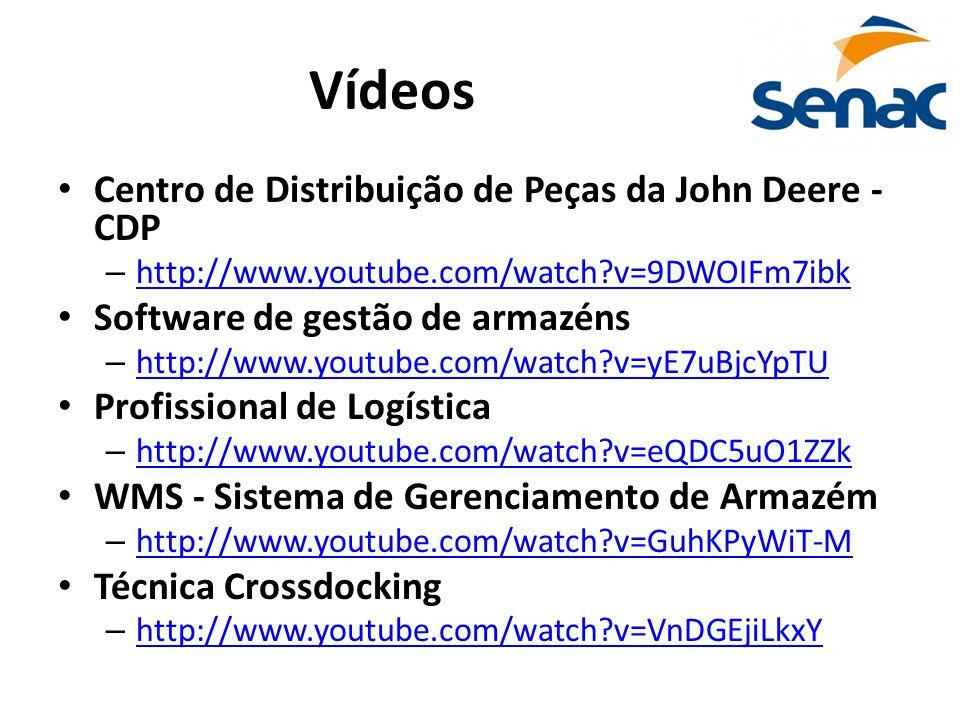 Vídeos Centro de Distribuição de Peças da John Deere - CDP – http://www.youtube.com/watch?v=9DWOIFm7ibk http://www.youtube.com/watch?v=9DWOIFm7ibk Software de gestão de armazéns – http://www.youtube.com/watch?v=yE7uBjcYpTU http://www.youtube.com/watch?v=yE7uBjcYpTU Profissional de Logística – http://www.youtube.com/watch?v=eQDC5uO1ZZk http://www.youtube.com/watch?v=eQDC5uO1ZZk WMS - Sistema de Gerenciamento de Armazém – http://www.youtube.com/watch?v=GuhKPyWiT-M http://www.youtube.com/watch?v=GuhKPyWiT-M Técnica Crossdocking – http://www.youtube.com/watch?v=VnDGEjiLkxY http://www.youtube.com/watch?v=VnDGEjiLkxY
