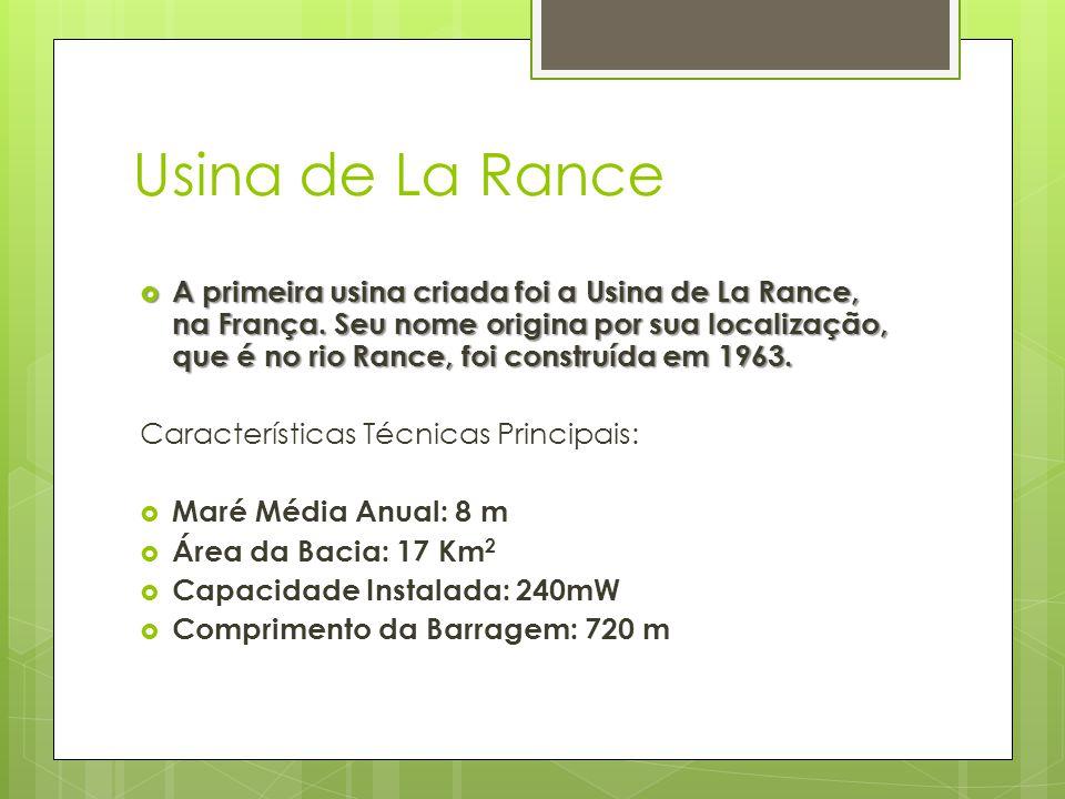 Usina de La Rance  A primeira usina criada foi a Usina de La Rance, na França. Seu nome origina por sua localização, que é no rio Rance, foi construí