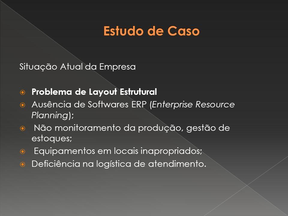 Situação Atual da Empresa  Problema de Layout Estrutural  Ausência de Softwares ERP (Enterprise Resource Planning);  Não monitoramento da produção,