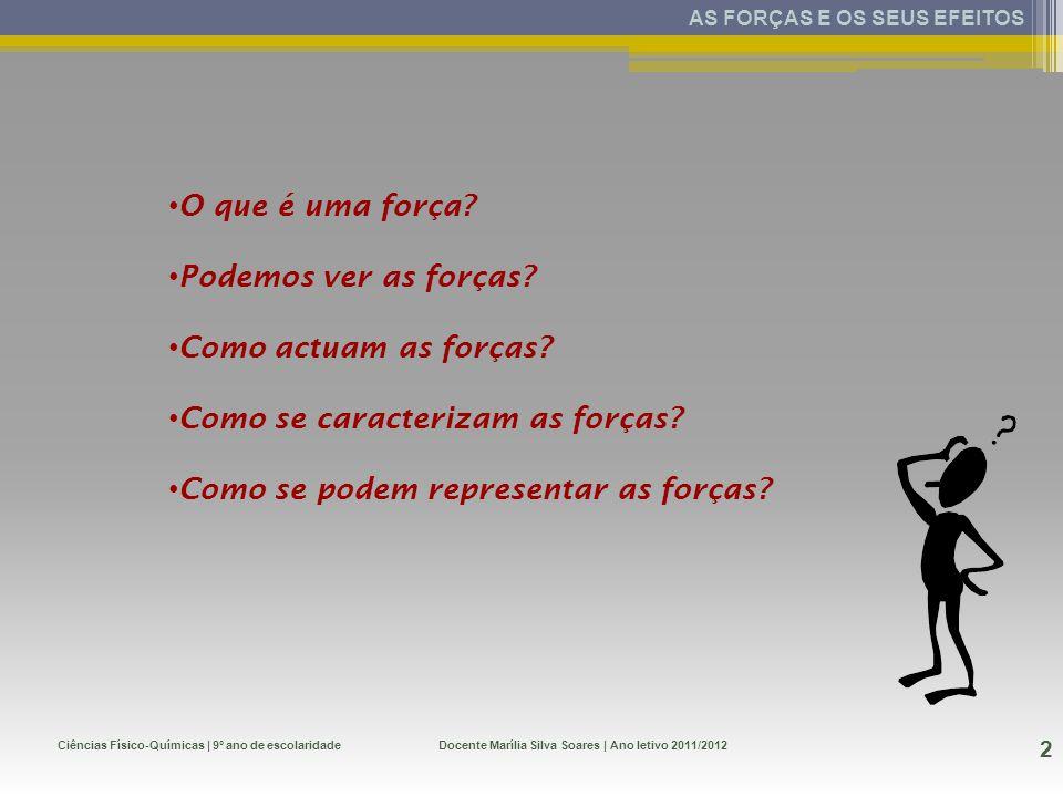 O que é uma força? Podemos ver as forças? Como actuam as forças? Como se caracterizam as forças? Como se podem representar as forças? Ciências Físico-
