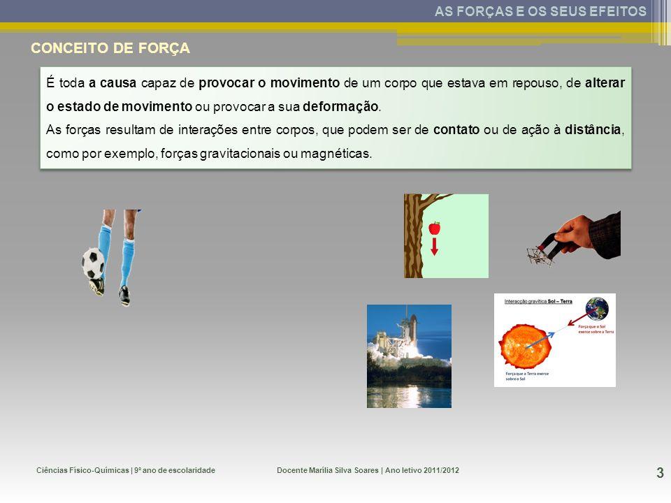 Ciências Físico-Químicas | 9º ano de escolaridade 3 Docente Marília Silva Soares | Ano letivo 2011/2012 AS FORÇAS E OS SEUS EFEITOS CONCEITO DE FORÇA