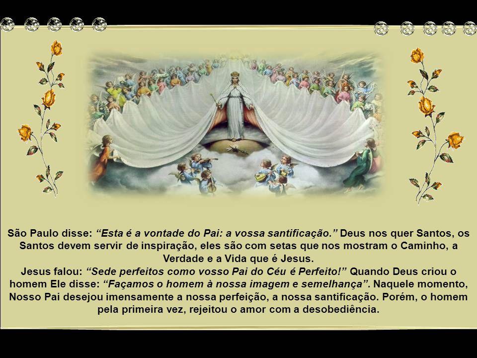 São Paulo disse: Esta é a vontade do Pai: a vossa santificação. Deus nos quer Santos, os Santos devem servir de inspiração, eles são com setas que nos mostram o Caminho, a Verdade e a Vida que é Jesus.