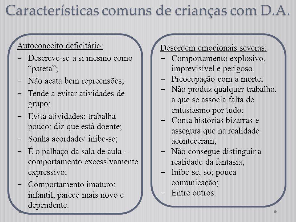 """Características comuns de crianças com D.A. Autoconceito deficitário:  Descreve-se a si mesmo como """"pateta"""";  Não acata bem repreensões;  Tende a e"""