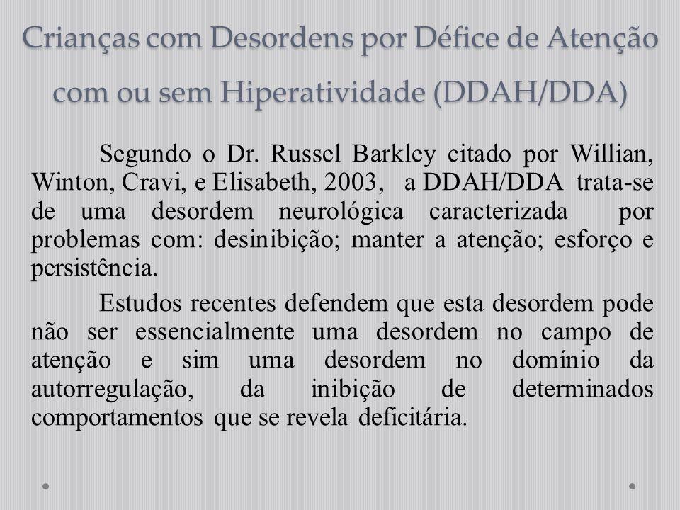 Crianças com Desordens por Défice de Atenção com ou sem Hiperatividade (DDAH/DDA) Segundo o Dr. Russel Barkley citado por Willian, Winton, Cravi, e El