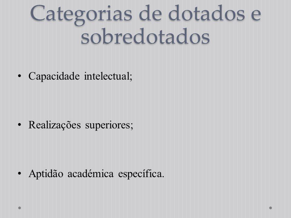 Categorias de dotados e sobredotados Capacidade intelectual; Realizações superiores; Aptidão académica específica.