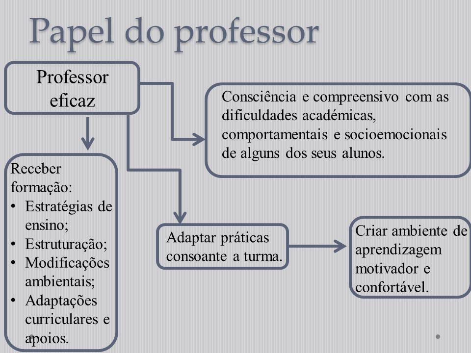 Papel do professor Professor eficaz Consciência e compreensivo com as dificuldades académicas, comportamentais e socioemocionais de alguns dos seus al