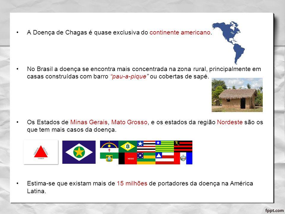 A Doença de Chagas é quase exclusiva do continente americano. No Brasil a doença se encontra mais concentrada na zona rural, principalmente em casas c