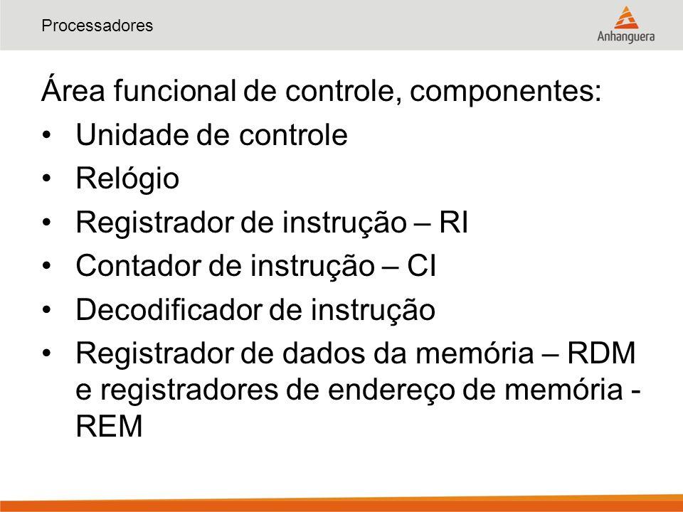 Processadores Área funcional de controle, componentes: Unidade de controle Relógio Registrador de instrução – RI Contador de instrução – CI Decodifica