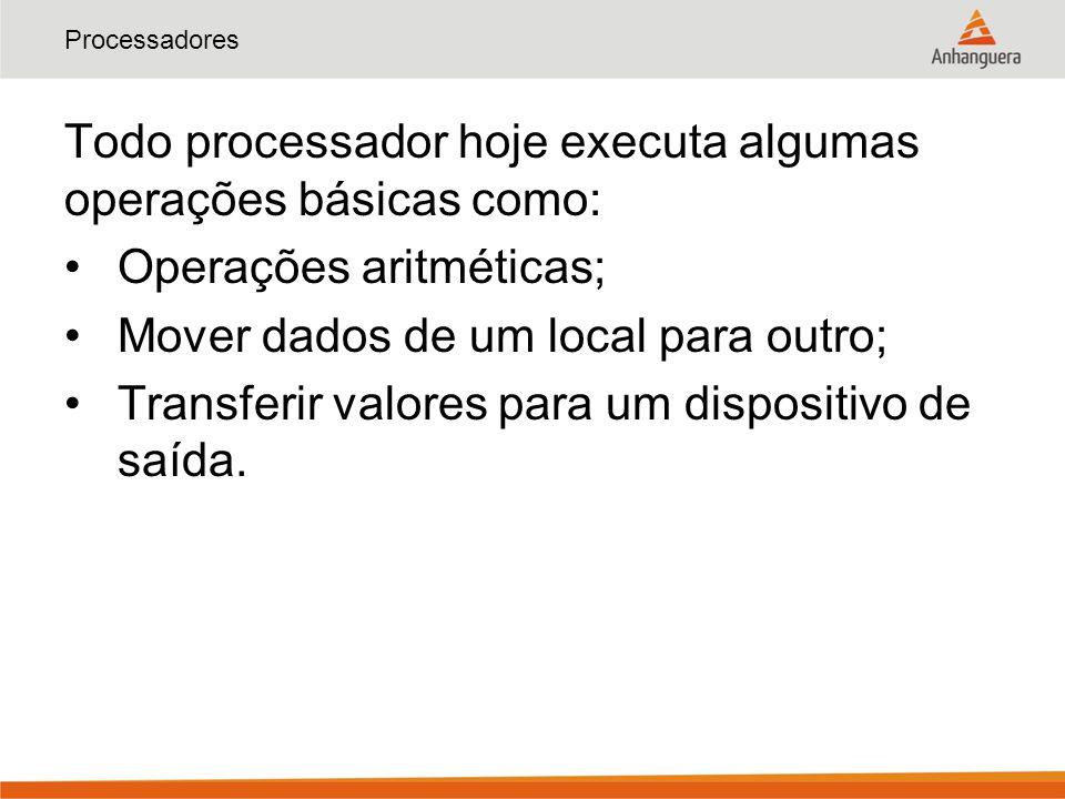Processadores Todo processador hoje executa algumas operações básicas como: Operações aritméticas; Mover dados de um local para outro; Transferir valo