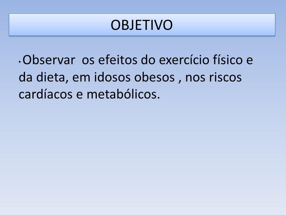 OBJETIVO Observar os efeitos do exercício físico e da dieta, em idosos obesos, nos riscos cardíacos e metabólicos.