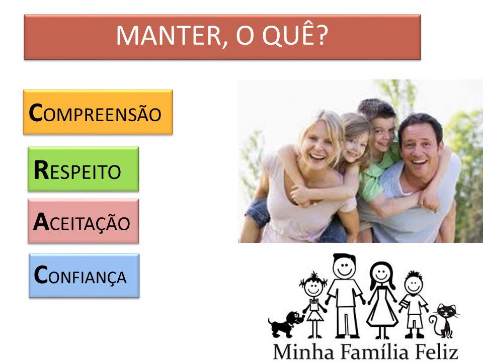 MANTER, O QUÊ C OMPREENSÃO R ESPEITO A CEITAÇÃO C ONFIANÇA