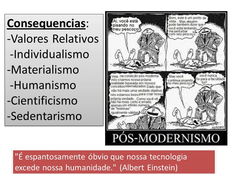 Consequencias: -Valores Relativos -Individualismo -Materialismo -Humanismo -Cientificismo -Sedentarismo Consequencias: -Valores Relativos -Individualismo -Materialismo -Humanismo -Cientificismo -Sedentarismo É espantosamente óbvio que nossa tecnologia excede nossa humanidade. (Albert Einstein)
