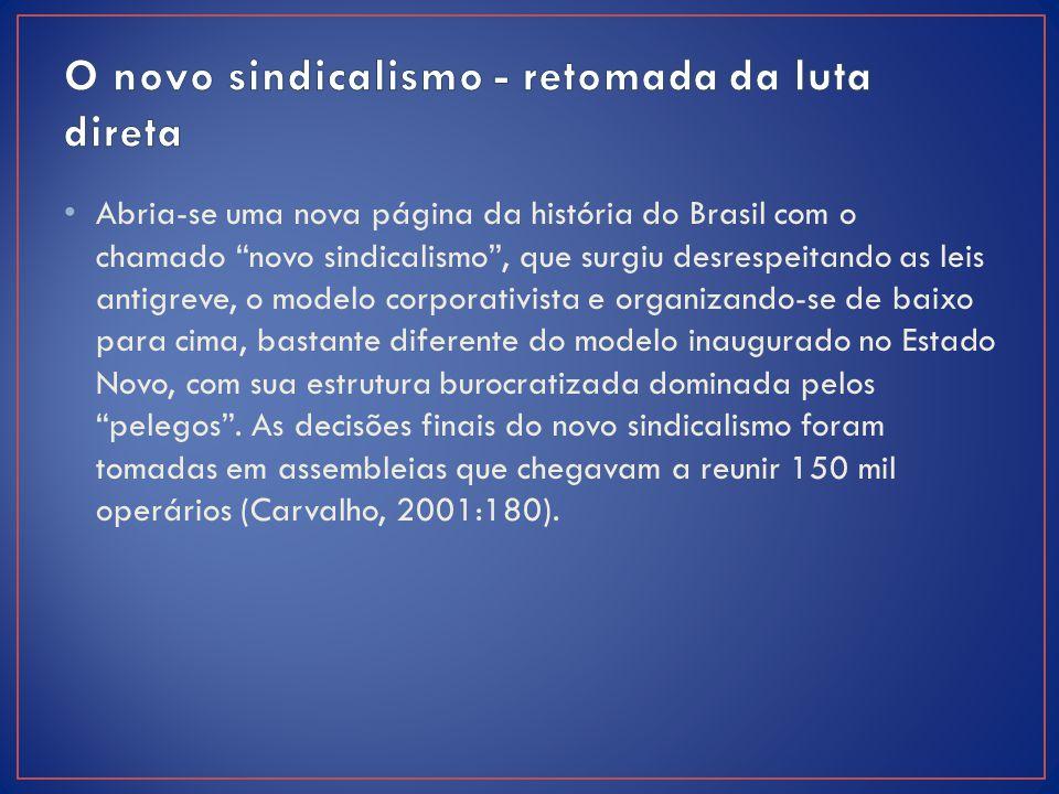 """Abria-se uma nova página da história do Brasil com o chamado """"novo sindicalismo"""", que surgiu desrespeitando as leis antigreve, o modelo corporativista"""