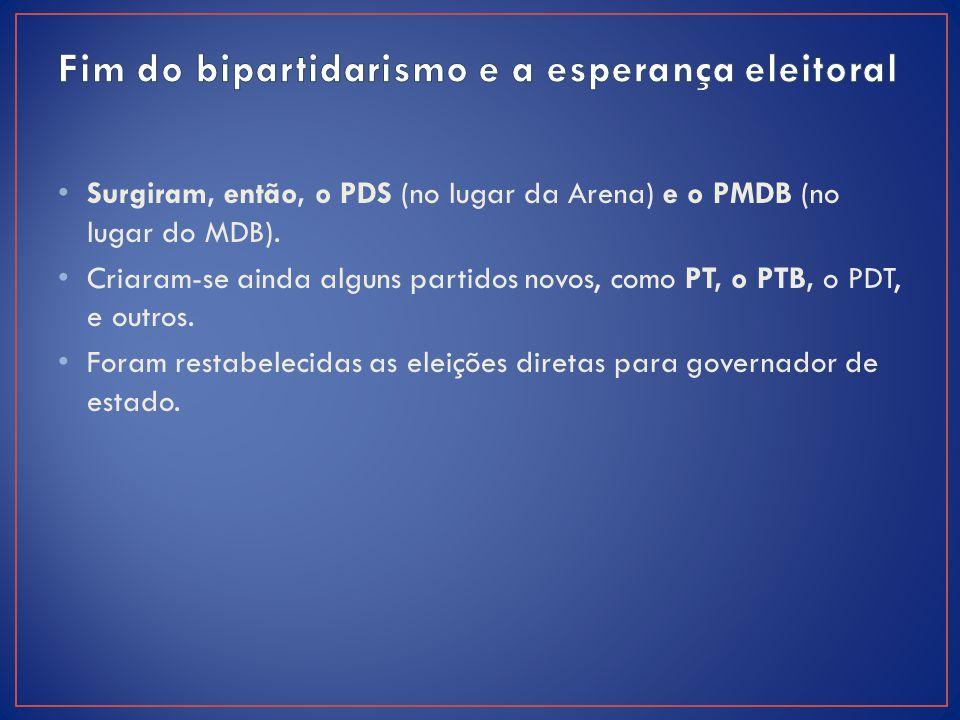 Surgiram, então, o PDS (no lugar da Arena) e o PMDB (no lugar do MDB). Criaram-se ainda alguns partidos novos, como PT, o PTB, o PDT, e outros. Foram