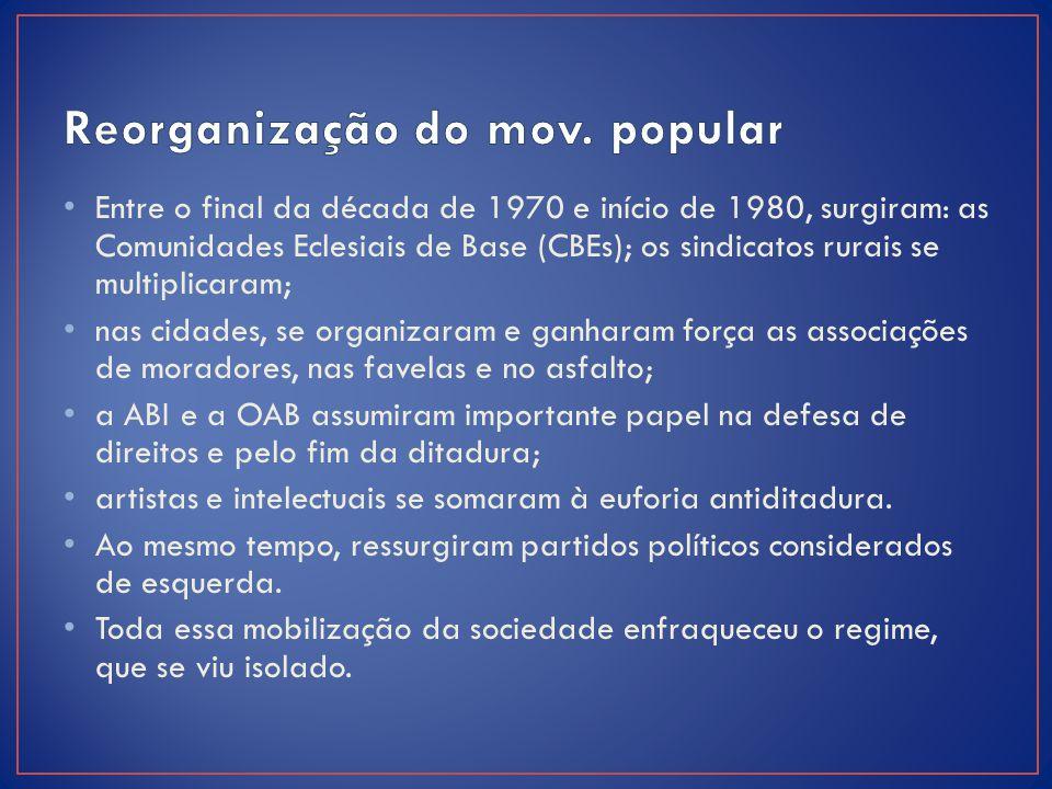 Entre o final da década de 1970 e início de 1980, surgiram: as Comunidades Eclesiais de Base (CBEs); os sindicatos rurais se multiplicaram; nas cidade