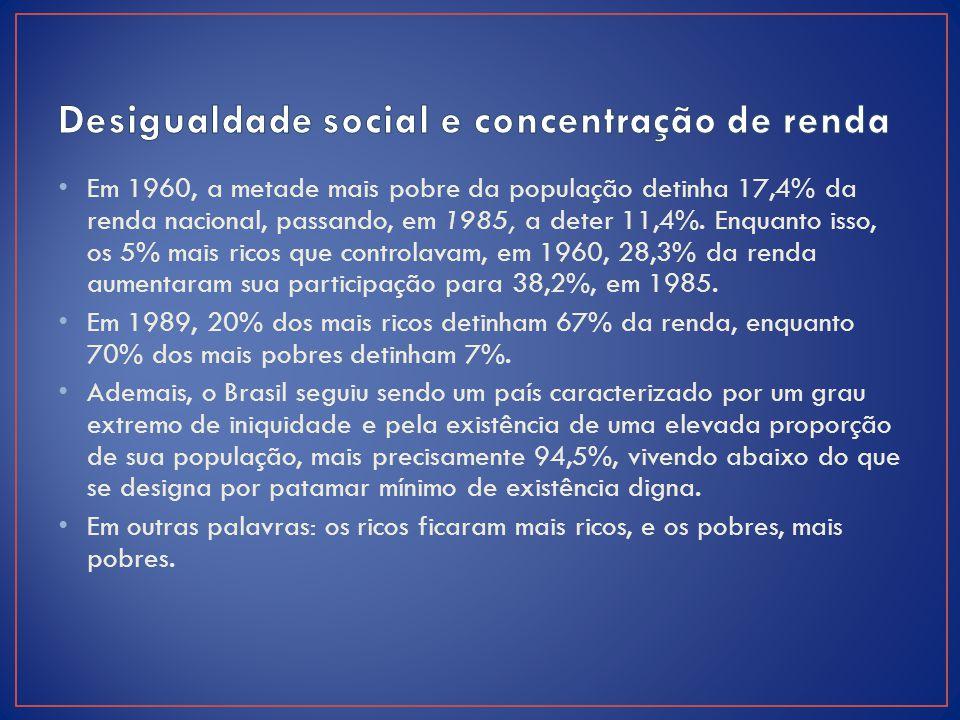 Em 1960, a metade mais pobre da população detinha 17,4% da renda nacional, passando, em 1985, a deter 11,4%. Enquanto isso, os 5% mais ricos que con