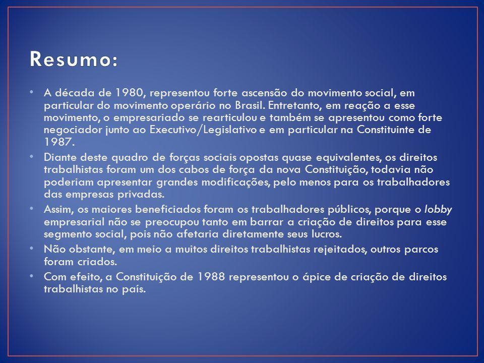 A década de 1980, representou forte ascensão do movimento social, em particular do movimento operário no Brasil. Entretanto, em reação a esse moviment