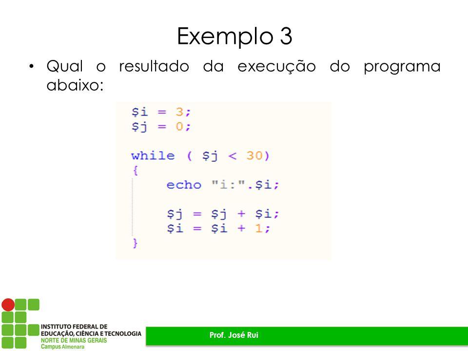 Exemplo 3 Qual o resultado da execução do programa abaixo: Prof. José Rui