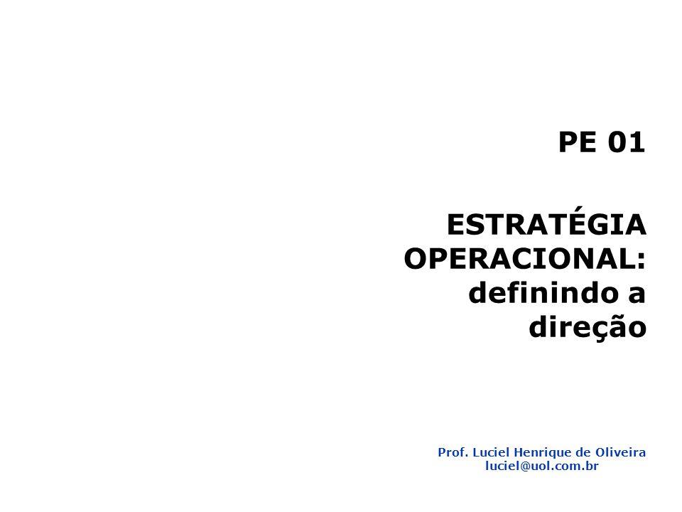Planejamento Estratégico 2 1 PE 01 ESTRATÉGIA OPERACIONAL: definindo a direção Prof.