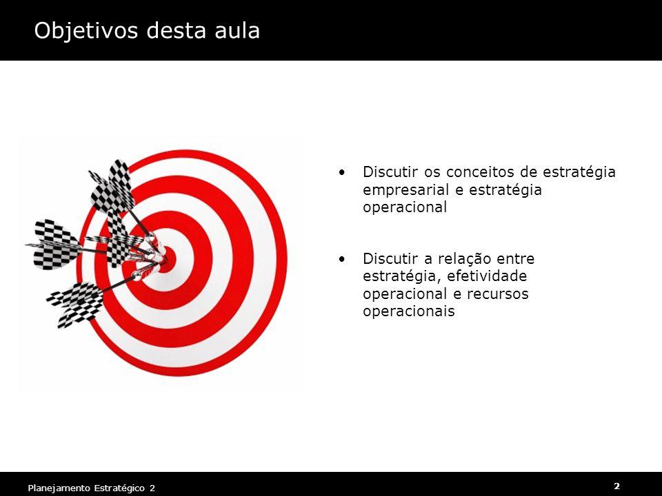 Planejamento Estratégico 2 3 Estratégia é......onde ir e como chegar lá
