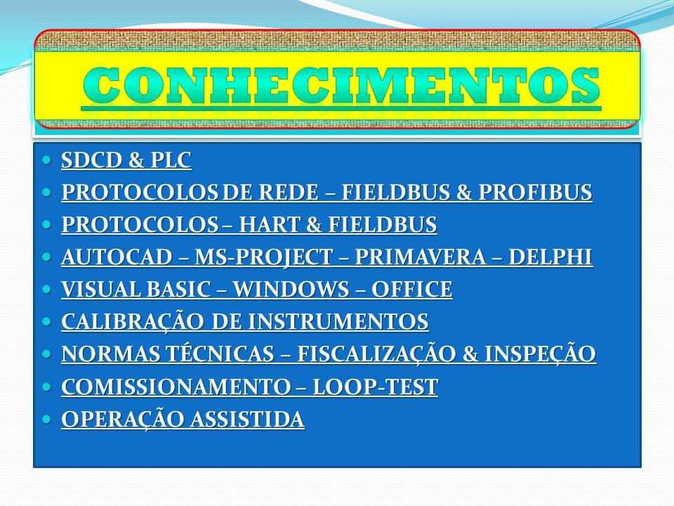 SDCD & PLC SDCD & PLC PROTOCOLOS DE REDE – FIELDBUS & PROFIBUS PROTOCOLOS DE REDE – FIELDBUS & PROFIBUS PROTOCOLOS – HART & FIELDBUS PROTOCOLOS – HART & FIELDBUS AUTOCAD – MS-PROJECT – PRIMAVERA – DELPHI AUTOCAD – MS-PROJECT – PRIMAVERA – DELPHI VISUAL BASIC – WINDOWS – OFFICE VISUAL BASIC – WINDOWS – OFFICE CALIBRAÇÃO DE INSTRUMENTOS CALIBRAÇÃO DE INSTRUMENTOS NORMAS TÉCNICAS – FISCALIZAÇÃO & INSPEÇÃO NORMAS TÉCNICAS – FISCALIZAÇÃO & INSPEÇÃO COMISSIONAMENTO – LOOP-TEST COMISSIONAMENTO – LOOP-TEST OPERAÇÃO ASSISTIDA OPERAÇÃO ASSISTIDA
