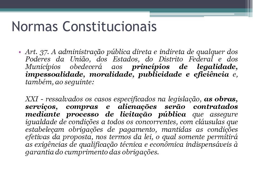 Normas Constitucionais Art. 37. A administração pública direta e indireta de qualquer dos Poderes da União, dos Estados, do Distrito Federal e dos Mun