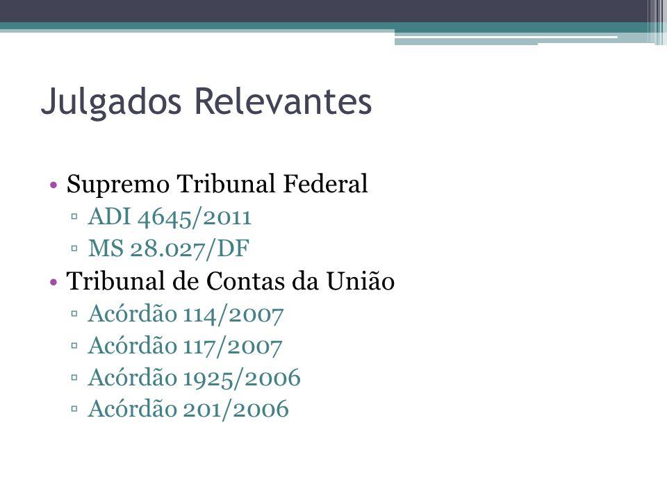 Julgados Relevantes Supremo Tribunal Federal ▫ADI 4645/2011 ▫MS 28.027/DF Tribunal de Contas da União ▫Acórdão 114/2007 ▫Acórdão 117/2007 ▫Acórdão 192