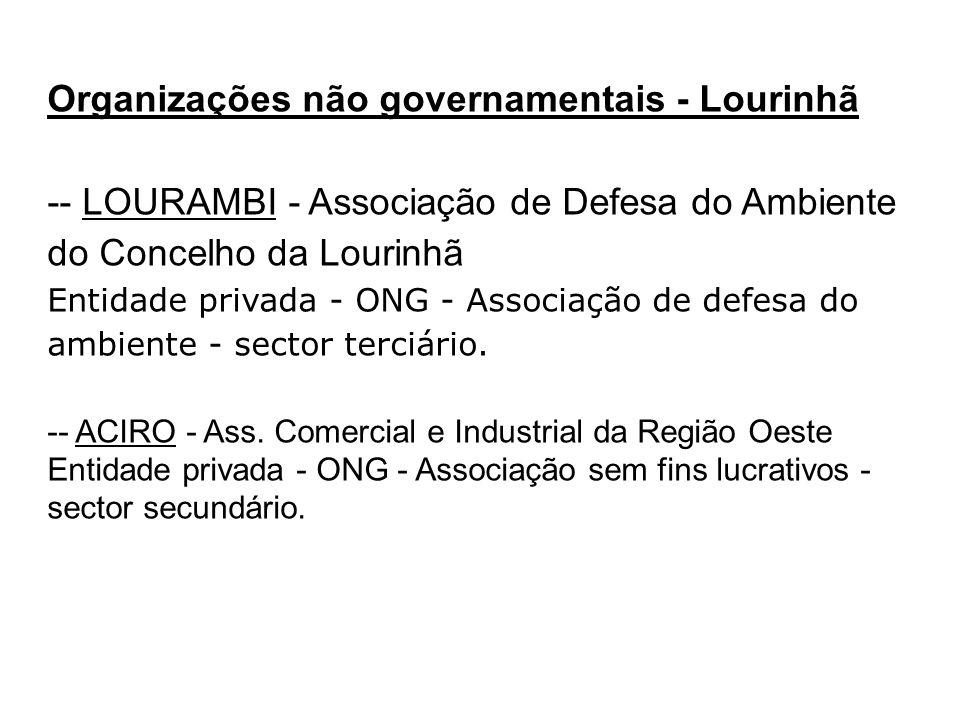 Organizações não governamentais - Lourinhã -- LOURAMBI - Associação de Defesa do Ambiente do Concelho da Lourinhã Entidade privada - ONG - Associação
