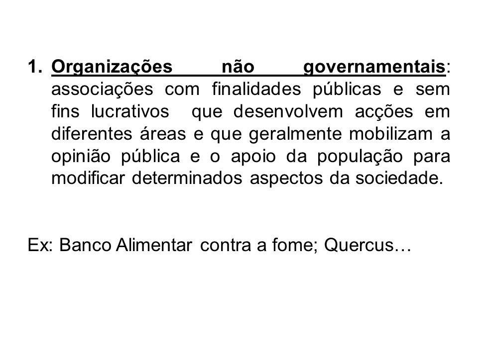 1.Organizações não governamentais: associações com finalidades públicas e sem fins lucrativos que desenvolvem acções em diferentes áreas e que geralme