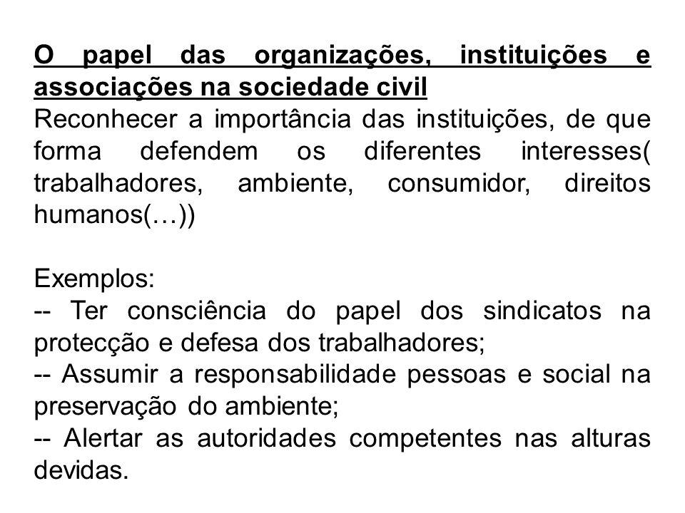 O papel das organizações, instituições e associações na sociedade civil Reconhecer a importância das instituições, de que forma defendem os diferentes