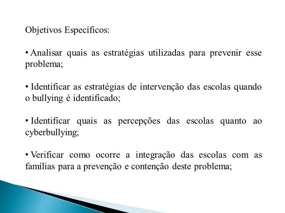 Objetivos Específicos: Analisar quais as estratégias utilizadas para prevenir esse problema; Identificar as estratégias de intervenção das escolas qua