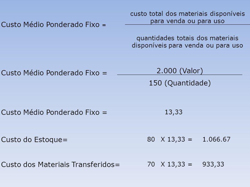 Custo Médio Ponderado Fixo = custo total dos materiais disponíveis para venda ou para uso quantidades totais dos materiais disponíveis para venda ou p