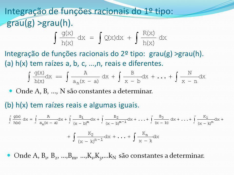 Integração de funções racionais do 1º tipo: grau(g) >grau(h).