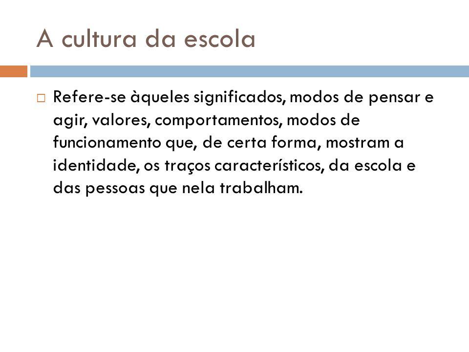 A cultura da escola  Refere-se àqueles significados, modos de pensar e agir, valores, comportamentos, modos de funcionamento que, de certa forma, mostram a identidade, os traços característicos, da escola e das pessoas que nela trabalham.