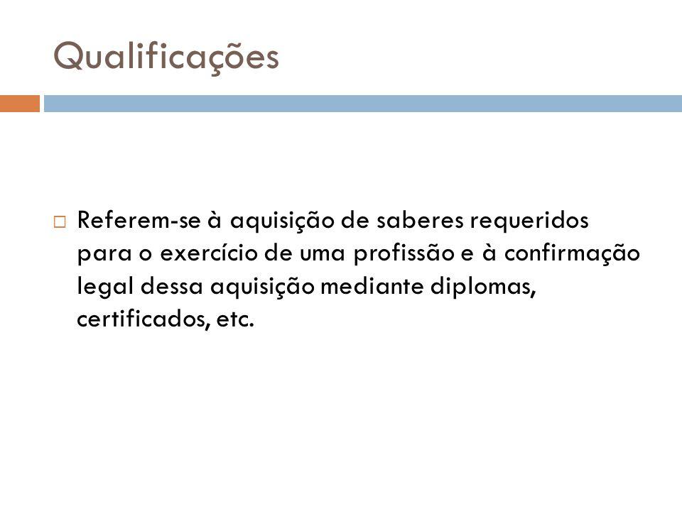 Qualificações  Referem-se à aquisição de saberes requeridos para o exercício de uma profissão e à confirmação legal dessa aquisição mediante diplomas, certificados, etc.