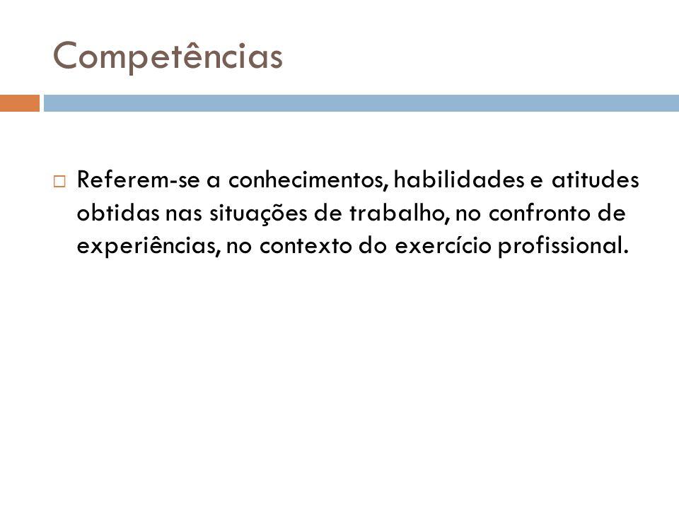 Competências  Referem-se a conhecimentos, habilidades e atitudes obtidas nas situações de trabalho, no confronto de experiências, no contexto do exercício profissional.