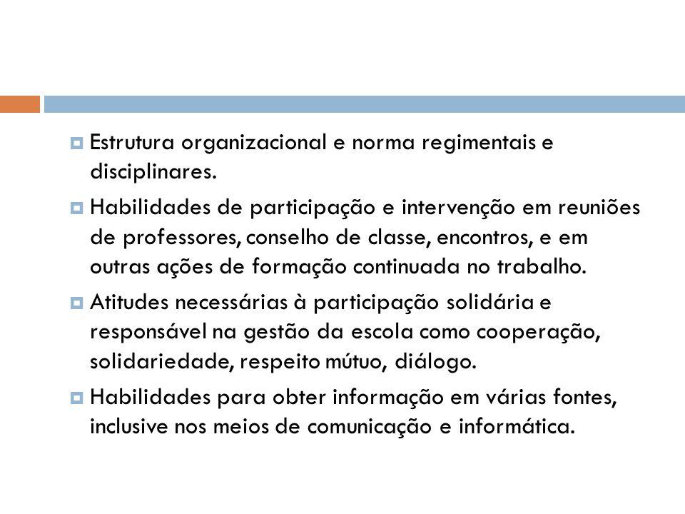  Estrutura organizacional e norma regimentais e disciplinares.