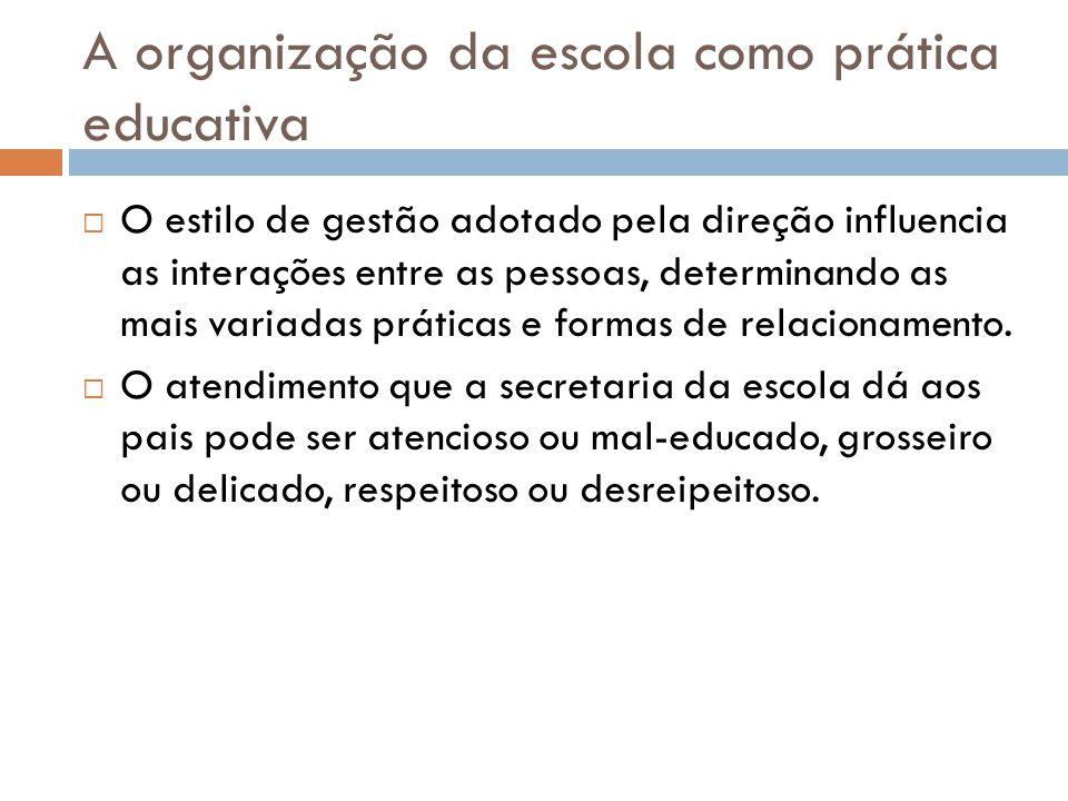 A organização da escola como prática educativa  O estilo de gestão adotado pela direção influencia as interações entre as pessoas, determinando as mais variadas práticas e formas de relacionamento.